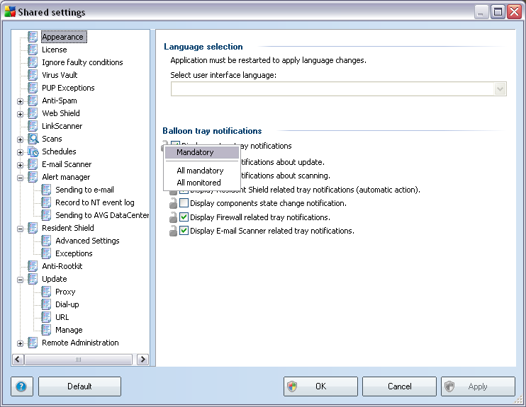 10. Configuration This chapter contains a description of configuration options for different parts of AVG 8.5 Anti-Virus Network Edition. 10.1.Shared Settings for Stations/Groups This dialogue allows you to define shared settings for stations.