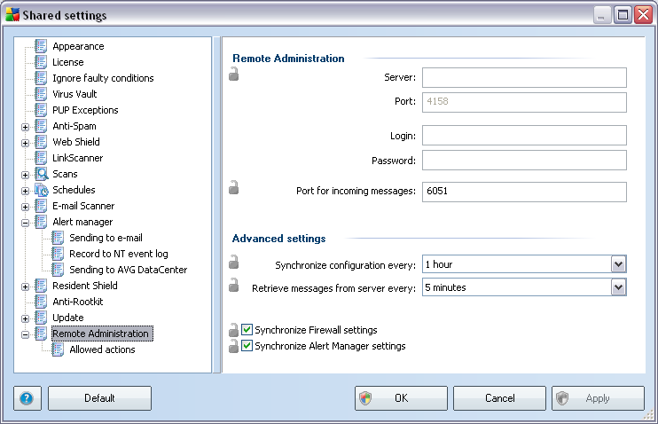 10.1.3.Remote Administration The Remote Administration settings available from AVG Admin Console contain some additional settings (in comparison to station settings).