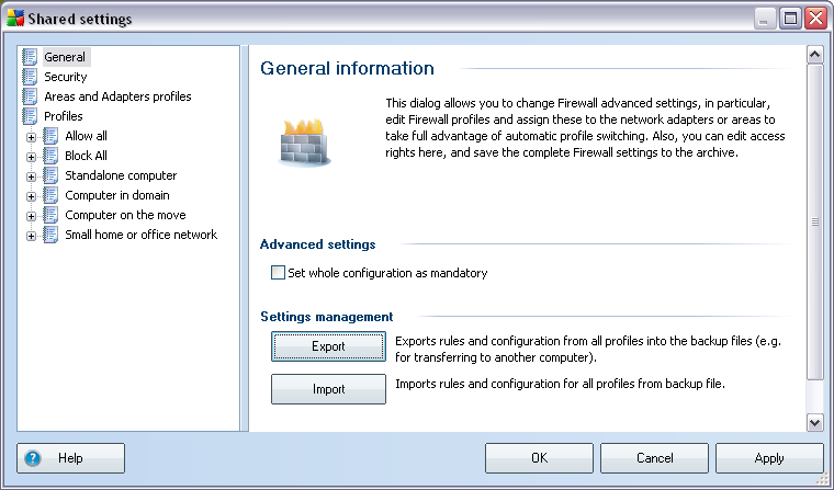 10.2.Shared Firewall Settings This dialogue allows you to define shared settings for stations.