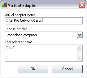 To the Virtual adapter name type in some preferred name of the virtual adapter. From the roll-down menu select the profile you wish to assign to this adapter.