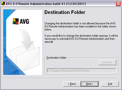 2.7. Destination Folder You have to specify the destination folder where AVG 8.5 Anti-Virus Network Edition (and its components) will be installed.