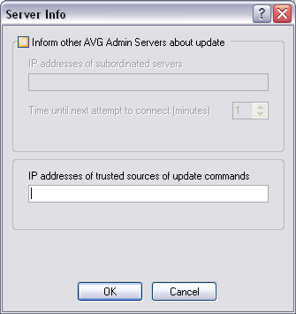Inform other AVG Admin Servers about update By ticking this checkbox you will allow the application to also inform other AVG Admin Servers about newly downloaded updates.