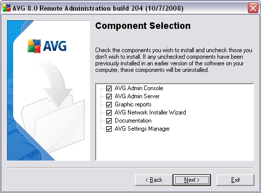 Note: If you want to use Graphic reports, install the component on the computer where you install AVG Admin Server, and on each computer