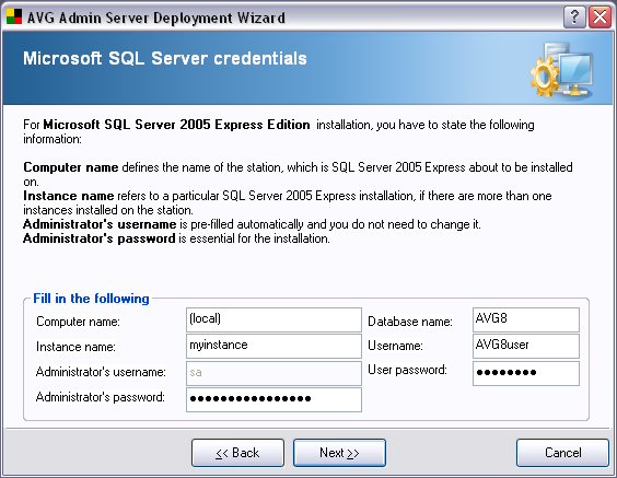 If in the previous dialog you chose New SQL Server 2005 Express Edition installation, you will be asked to fill in the following information: Computer name defines the name of the station, on which