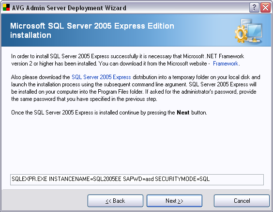 Continue to the next screen by pressing the Next button. If you selected New SQL server 2005 Express Installation in the previous steps, you will experience a dialogue similar to the one below.