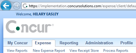 Create a New Expense Report Once you have logged into Concur, you are ready to prepare a new expense report. Click on the Expense tab, and select New Expense Report The Report Header will appear.