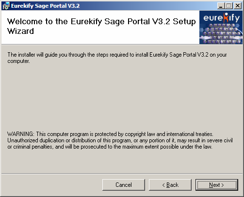 msi to run the Sage Portal installation wizard.. The Splash Screen appears.