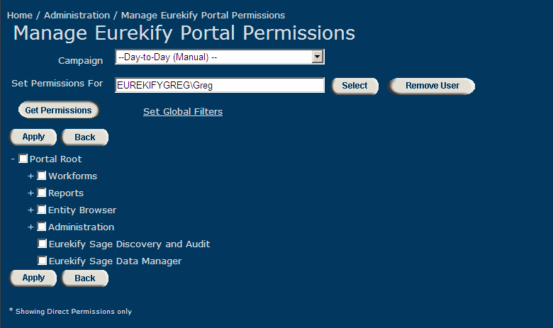 Administration Eurekify 2.4 Managing Eurekify Portal Permissions Different members of your organization will be involved at different levels in the Role engineering and certification process.