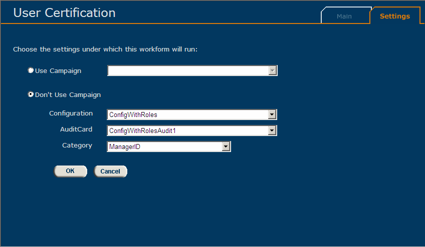 Eurekify Sage 3.2.1 Workform Settings Tab Use the Workform s Setting tab to select the type, and refine the amount of information that is displayed in the Workform Main tab.