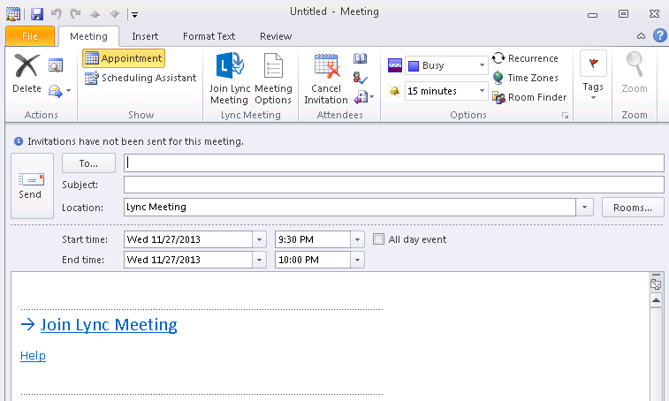 3. Click Lync Meeting in an Appointment The link for joining