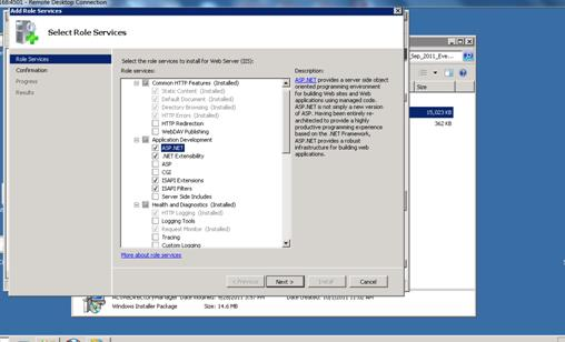 Make sure you have install asp.net,.net extensibility and iis6 management compatibility roles.