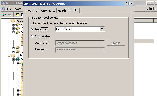 Click on Identity and In Predefined option change to Local system Click on Save to save the settings