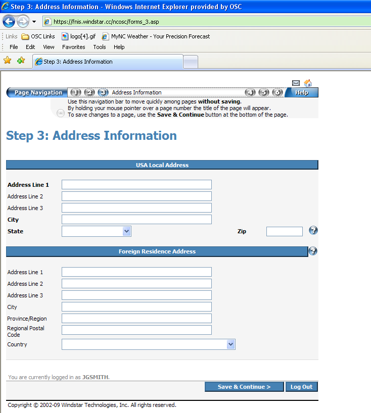 Step 3: Address Information Pool Ball 3 is highlighted in blue at the top of the screen. 1. Enter the USA Local Address. 2. Enter the Foreign Residence Address if provided.