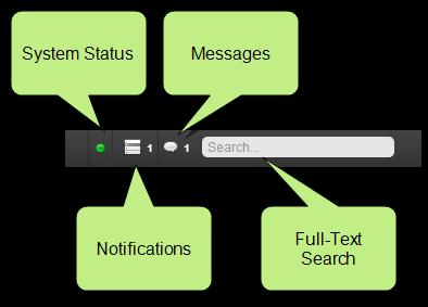 SYSTEM BAR AND SEARCH Across the upper-left of the Pulse dashboard is the system notification bar. This area shows general system status information, including notifications and messages.
