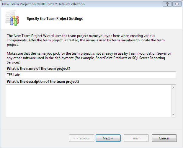 Page 127 of 243 You should now see the first page of the New Team Project wizard.
