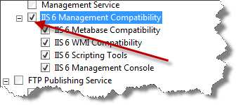 Under Management Tools, locate and select the IIS 6 Management Compatibility node.