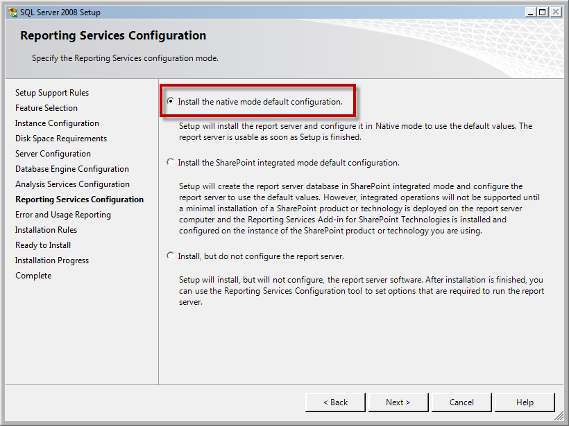 Page 46 of 243 You should now be on the Reporting Services Configuration page