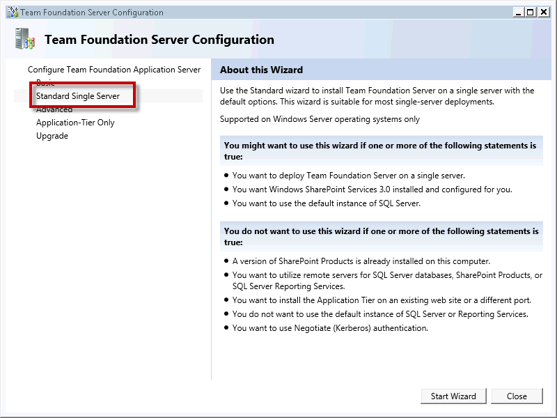 Page 64 of 243 You should now see the Team Foundation Server Configuration tool window.