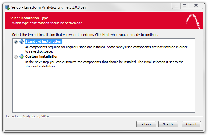 5. A Select Installation Type window will appear: Accept the default setting for Standard