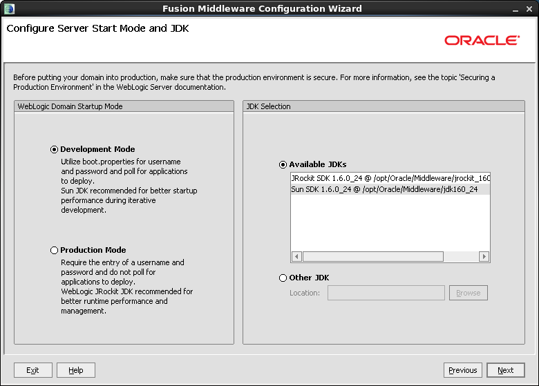 Chapter 4. Configuring WebLogic Server for Web Installations Creating and Configuring a WebLogic Server Domain 31 d.