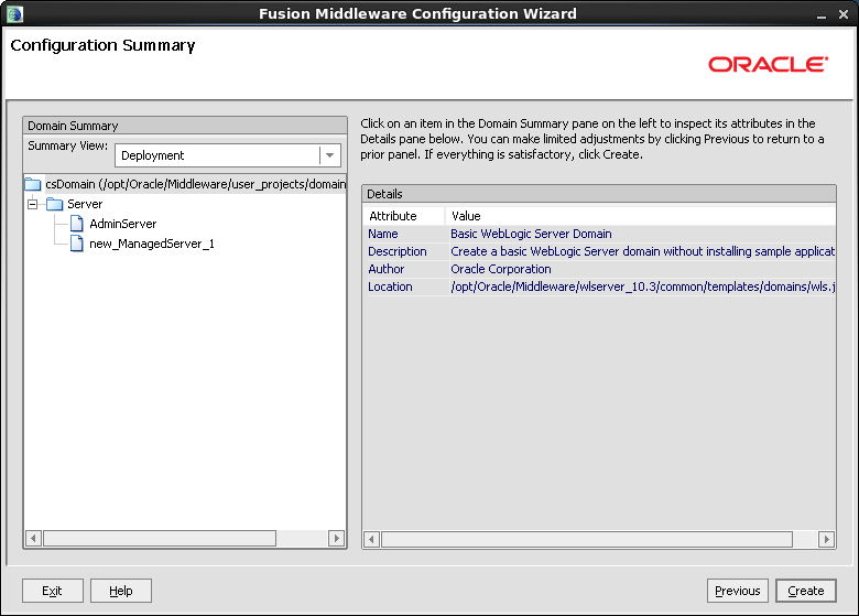 Chapter 4. Configuring WebLogic Server for Web Installations Creating and Configuring a WebLogic Server Domain 37 7.