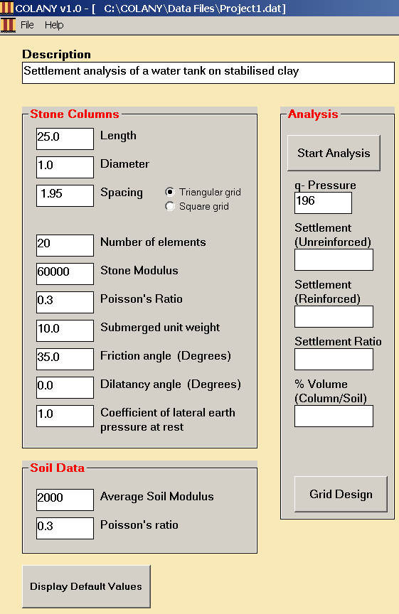 Figure 3 Data Entry for Example