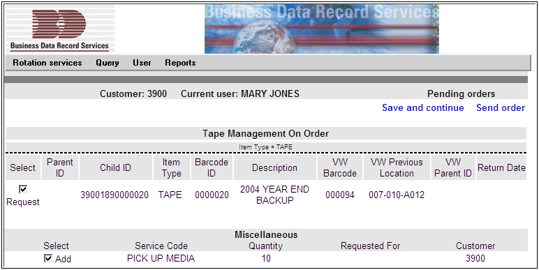 USER MENU VIEW ORDER(S) SCREEN Media requests can be reviewed by the user before submitting the order to BDRS to be processed. Go to the User Menu and choose the View Order(s) option.