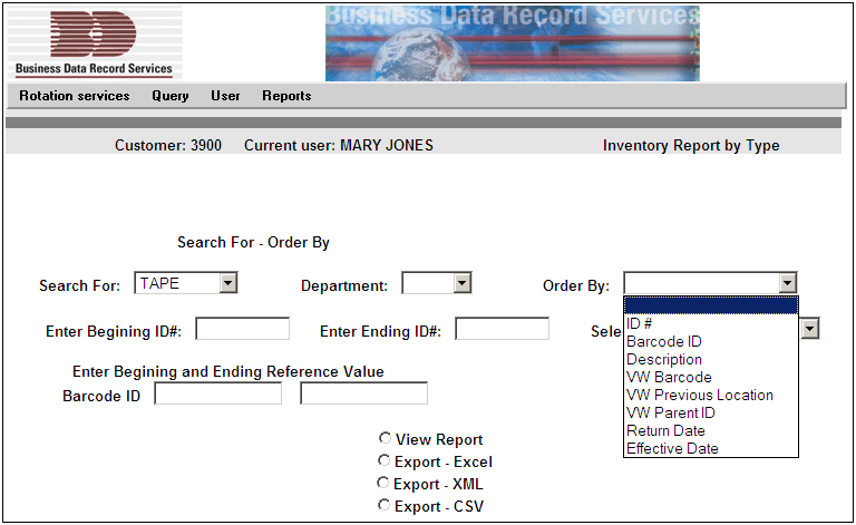 REPORTS MENU The Reports menu currently has 3 types of reports Expired (Return Date), Inventory by Type and Workorder. These reports can be previewed, printed or exported by the user.