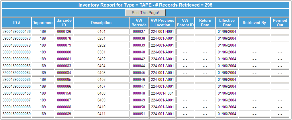 Creating And Viewing An Inventory Report The Inventory Report by Type provides inventory for a specific Item Type and Inventory Status (Not Retrieved, Retrieved, or Permed Out) based on the criteria