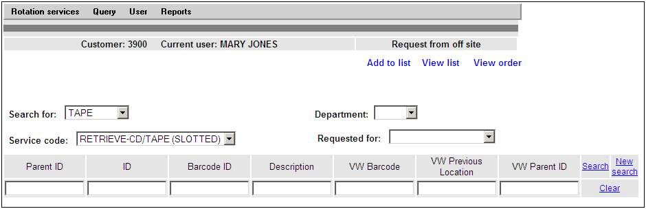 Once the Item Type and Service Code have been selected, a series of search fields will display as shown in Fig. 3. These fields are detailed below. Fig. 3 Parent ID ID This field is not applicable for the customer.