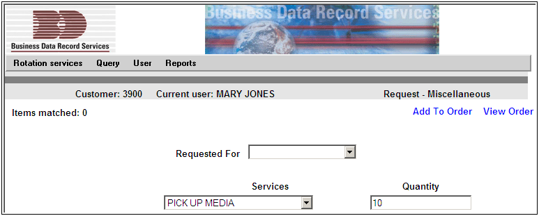 ROTATION SERVICES MISCELLANEOUS SCREEN Use the Miscellaneous option in the Rotation Services Menu to request barcode labels, transmittal forms, or to request a pick up.