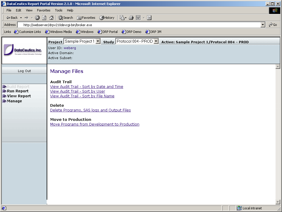Returning to the main Manage Files screen and choosing the Delete function, displays the Delete Files interface. In development, all users can select files to delete.