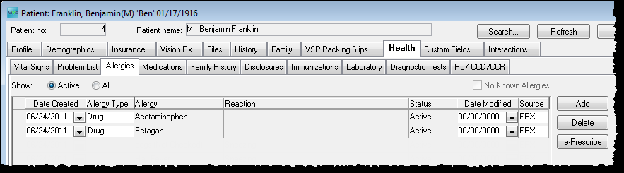 In the patient profile or Exam screens, go to the Health tab and select the Medications sub-tab to see the list of medications for the patient.