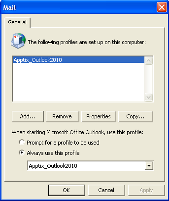 Exchange 2010 Outlook Profile Setup Page 9 of 9 19) Click the [Finish] button. The Mail dialog displays again.