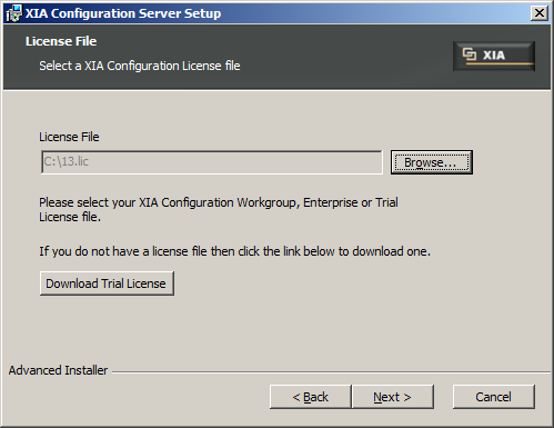 9. Select your XIA Configuration license file when prompted.