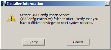 Setup fails with a Service failed to start error (due to no Internet connection) Issue During the XIA Configuration Server installation you receive a Service failed to start error message.