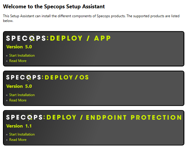 Installing Specops Deploy / OS During installation, Specops Deploy will launch the Setup Assistant.