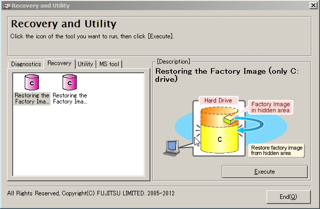 Restore the Recovery Image from Hidden Partition 1. Select Restoring the Factory Image (only C: drive) from Recovery tool, and click Execute. 2.