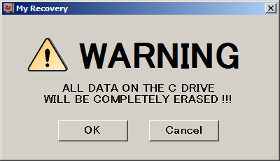 3. All data on the C: drive will be deleted. Click OK to start the recovery process. 4. The progress bar appears. Wait for the process to complete. 5.