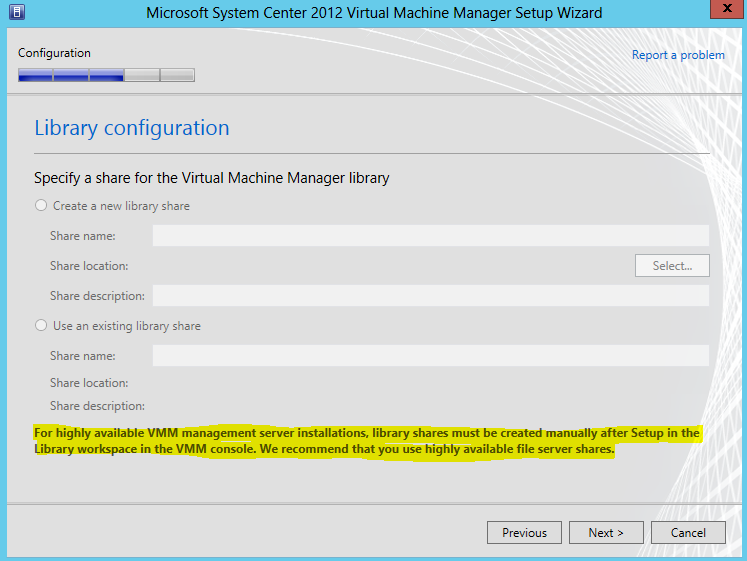 The ports assigned during the installation cannot be changed without uninstalling and reinstalling the VMM management server. On the Library configuration page, click Next.