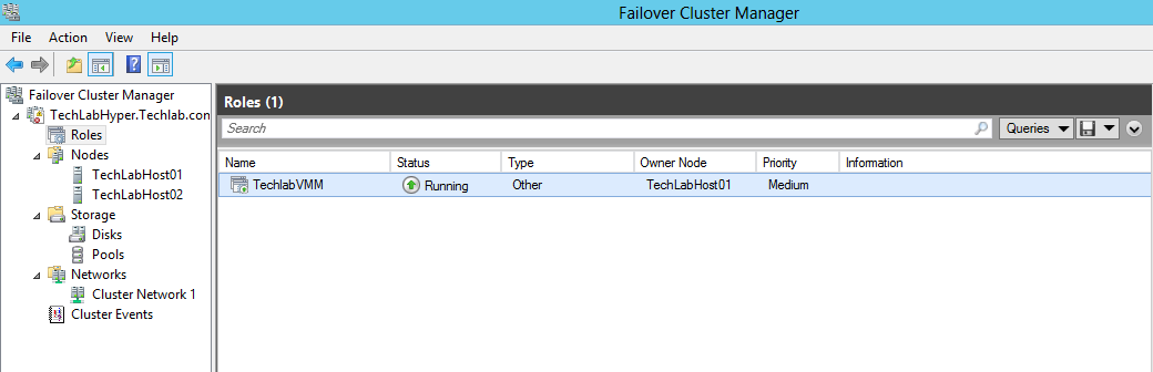 Notice the new cluster role created in your Failover cluster; make sure that the status is running. Now we have the VMM running on single node on the failover cluster.
