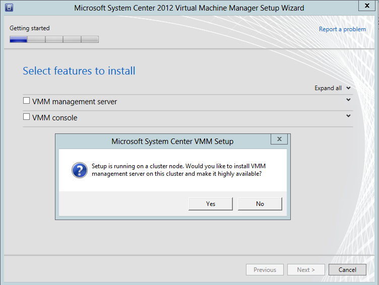 On the main setup page, click Install. On the Select features to install page, select the VMM Server check box.