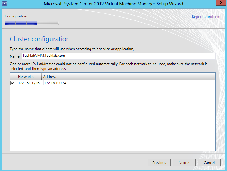 On the Cluster configuration page, type the name of the highly available VMM management cluster server.