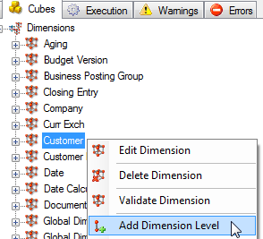 About Dimensions 132 To Add Dimension Levels Dimension levels are used to create a dimension attributes within a cube, which enables a user to drill down or roll up through data.