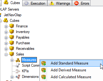Creating Cubes 144 To Add Standard Measures 1. On the Cubes tab, expand the OLAP server that contains the cube to which you want to add a measure. 2.