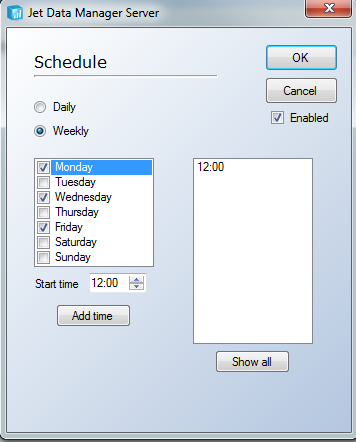 Execution Packages 160 To Specify a Weekly Execution Schedule 1. Expand Execution Packages, right-click the Execution Package to which you want to add a schedule, select Add Schedule.