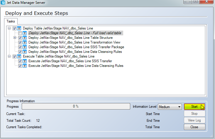 User Defined Functions and Stored Procedures 85 Click the Start button to begin the deployment and execution process.