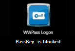 Error reading PassKey: This message is shown when a Service Key or disabled PassKey is presented to the computer for authentication. Present an activated PassKey in order log on.