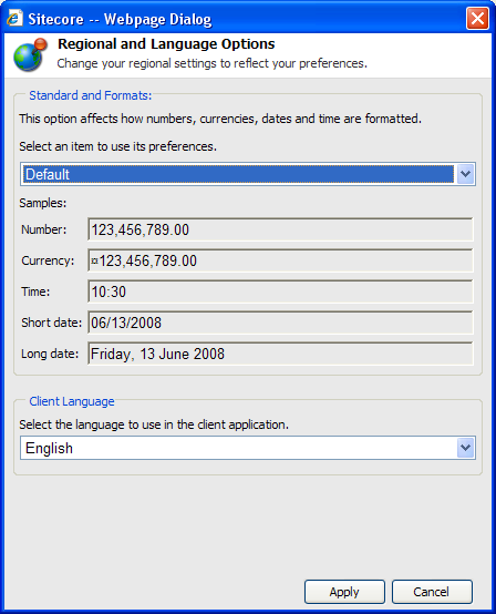 2. In the Preferences dialog box, click Set Your Regional and Language Options. 3.