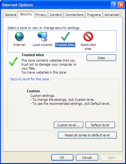 Configuring Word Fields If you are using Internet Explorer 8, the first time you access a Word field in Sitecore, you will receive an error telling you that your security settings won t let you run